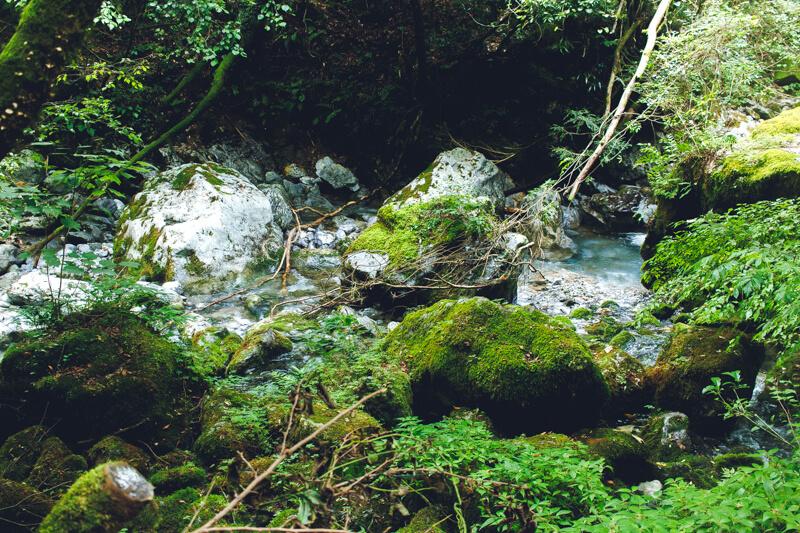 岩だらけの川