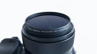 α6000にNDフィルターを装着した写真のアップ