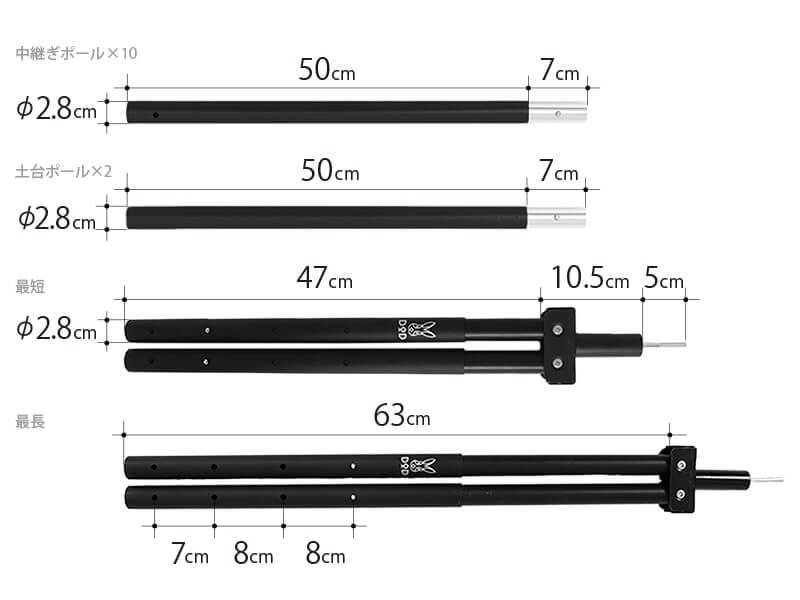 フタマタノサソイとビックタープポールのサイズ表